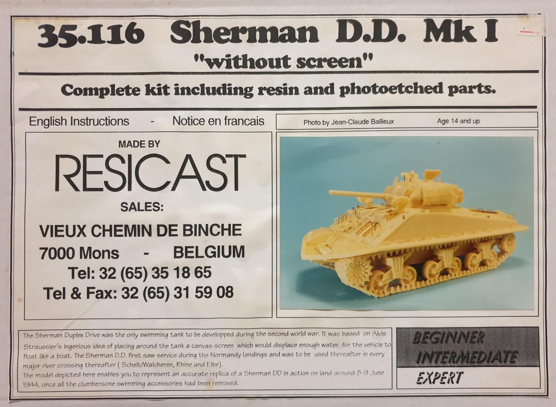 Resicast 35116 Sherman D.D. Mk.I complete kit