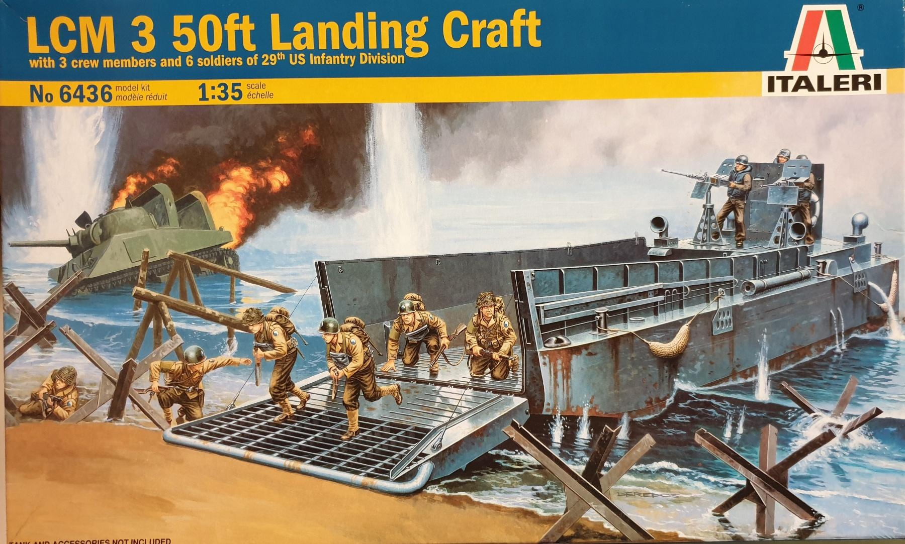 Italeri 6436 LCM 3 50ft Landing Craft w/ 3 crew and 6 soldiers