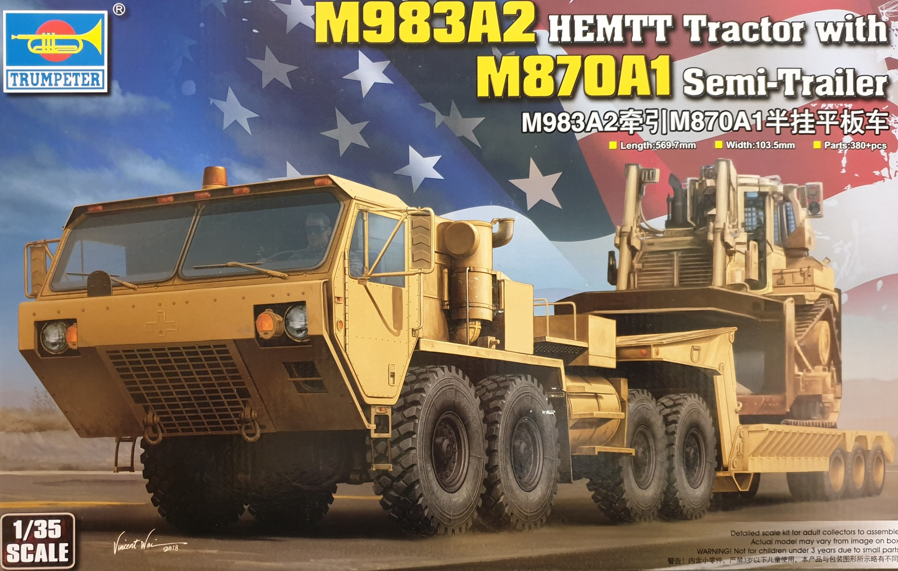 Trumpeter 01055 M983A2 Hemtt Tractor with M870A1 Semi-Trailer