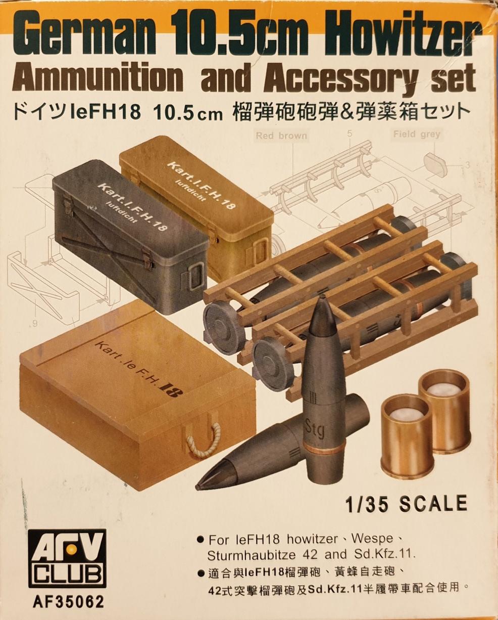 AFV Club AF 35062 German 10.5cm Howitzer Ammunition and Accessory set