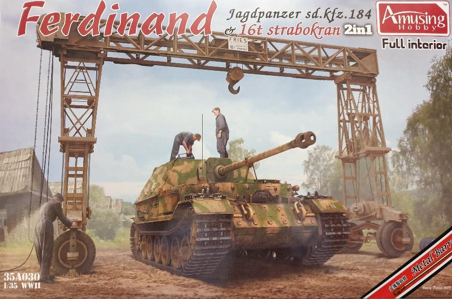 Amusing Hobby 35A030 Ferdinand Jagdpanzer &16t Strabokran 2 in 1