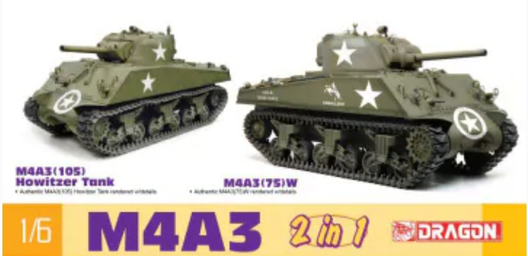 Dragon 75055 M4A3 Sherman 2 in 1 M4A3 105mm Howitzer – M4A3 75mm (W) 1/6