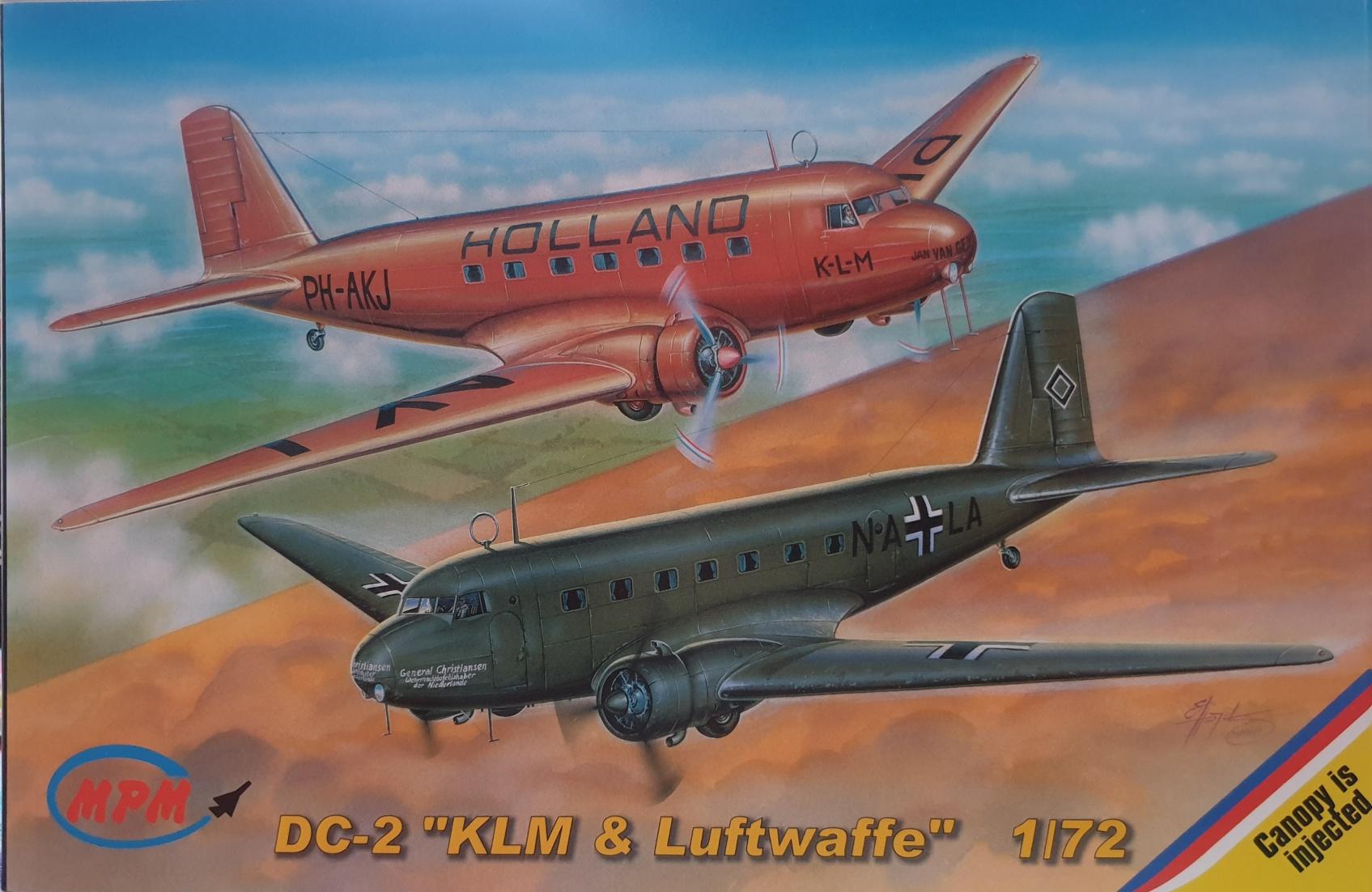 """MPM 72515 DC-2 """"KLM & Luftwaffe"""" """"Jan van Gent & Uiver"""" decal versies"""