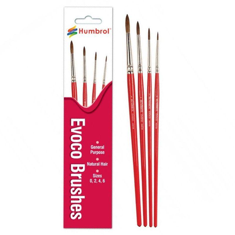 Humbrol Evoco Brushes 4 stuks