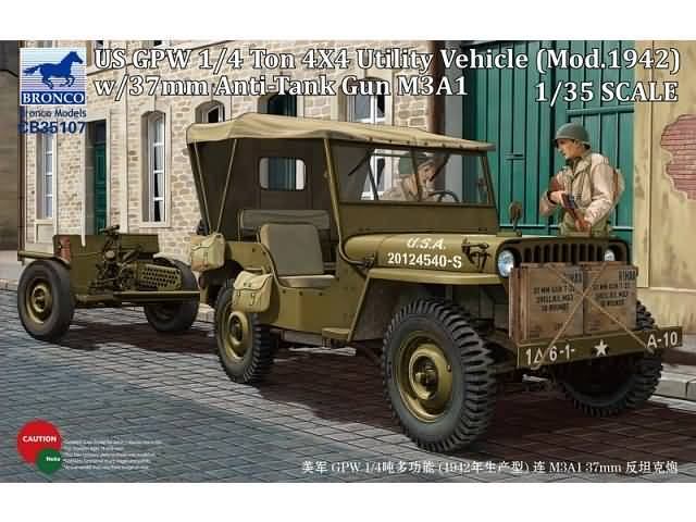 Bronco CB35107 US GPW 1/4 ton 4X4 Utility Vehicle (Mod. 1942) w/37mm Anti-Tank Gun M3A1 1/35
